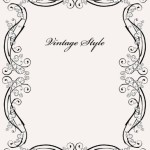 Vintage Styled Simple Dark Floral Frame Vector 01