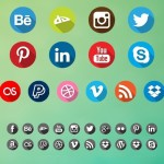 40 Long Shadow Social Icon Set