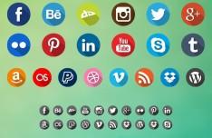 40 Long Shadow Social Icon Set