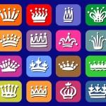 Cute Crown Flat Icon Set Vector