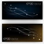 Elegant Dark Banners with Bright Abstract Backgrounds Vector 01