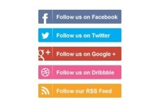 Flat Social Media Follow Buttons PSD