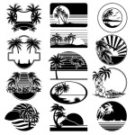 Set Of Black Summer Vacation Beach Badges Vector