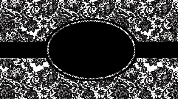 Free Dark Ribbon Label With Lace Background PSD