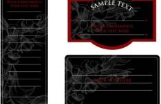 Vintage Dark Floral Card Design Vector 03
