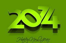 Green 2014 Happy New Year Background Vector