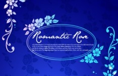 Blue Romantic Rose Background Vector 01