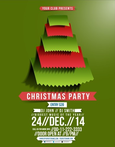 Free Creative Christmas Party Club Poster / Flyer Template Vector 03 ...
