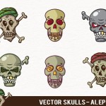 6 Cute Skull Icons Vector