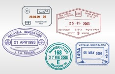 Set of Various Passport Visa Stamps Vector 03