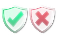 Green Security and Red Warning Shields PSD