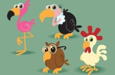 Cute Cartoon Birds Illustration Vector