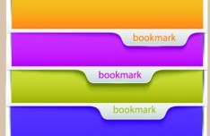 Set Of Multi-color Banners with Corner Bookmark Labels Vector