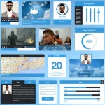 Flat Blue UI Kit PSD
