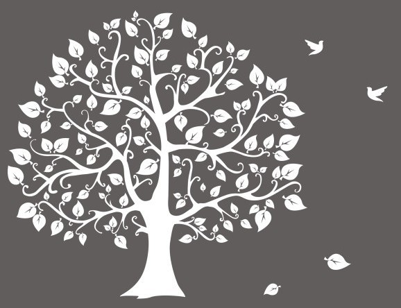 Free Hand Drawn Big Tree And Birds Illustration Vector