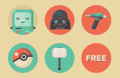 Flat Geek Icon Set Vector