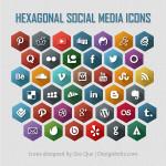 Flat Long Shadow Style Hexagonal Social Media Icons