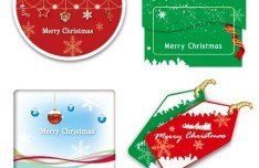 Set of Lovely Merry Christmas Labels Vector 04