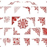 Set Of Red Corner Floral Ornaments Vector