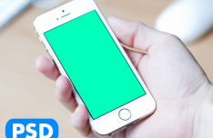 White iPhone 5S In Hand PSD Mockup