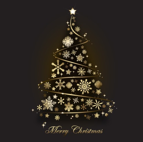Free Creative Gold Christmas Tree Design Vector 01 Titanui
