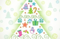Cute Cartoon Christmas Tree Illustration Vector 01
