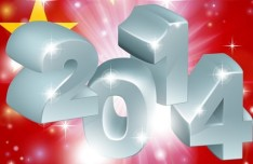 Happy New Year 2014 Text Design Vector 01