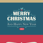 Set Of Vintage Christmas & Happy New Year Cards Vector