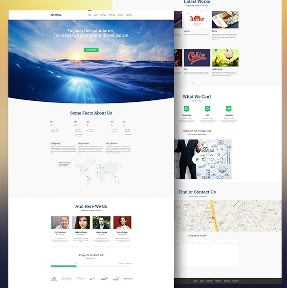 Free aqual e commerce website template psd titanui for E commerce sites templates