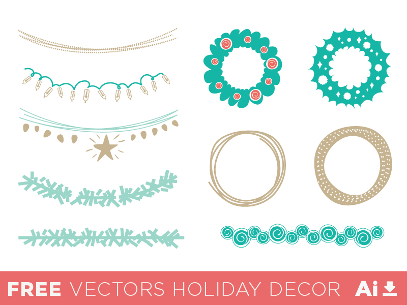 Free Set Of Vector Holiday Decorations Titanui