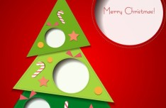 3D Cartoon Christmas Card Design Vector