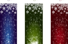 Vector Set Of Sparkling Merry Christmas Banners 01