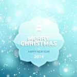 Blue Merry Christmas Badge Vector