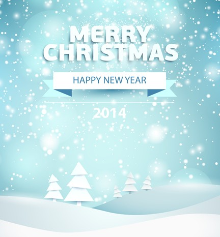 Free Merry Christmas and Happy New Year 2014 Background Vector - TitanUI