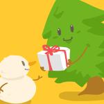 Cute Cartoon Christmas Tree and Snowman SVG Vector
