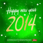 Green Merry Christmas & Happy New Year 2014 Background Vector 01