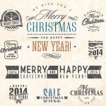 Retro Merry Christmas Labels & Insignias Vector