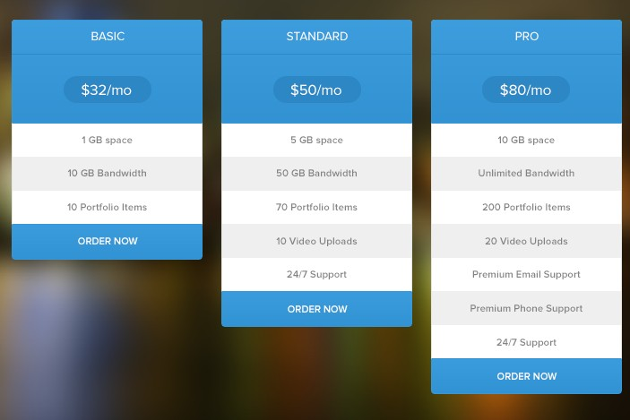 Free blue flat pricing table psd titanui for Table graphic design
