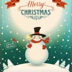 Retro/Vintage Christmas & Happy New Year Poster Vector 01