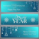 Set Of Rounded Blue Banners with Christmas Ornaments
