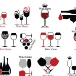 Set of Wine Bottle and Wineglass Icons Vector