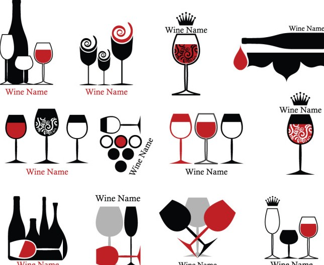 Free Set Of Wine Bottle And Wineglass Icons Vector Titanui
