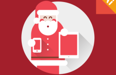 Flat Long Shadow Santa Claus Vector