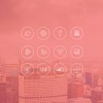 Flat iOS 7 Style Social Media Line Icons PSD