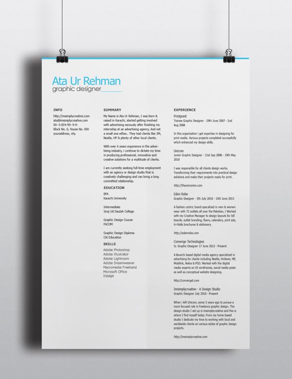 free minimalistic resume template psd