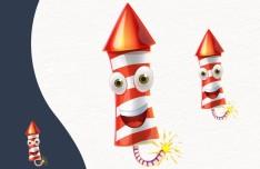 Cartoon Fireworks PSD