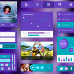 Purple and Green UI Kit PSD