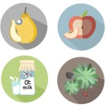 Round Flat Food & Fruit Icons Vector