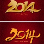 Golden Happy New Year 2014 Backgrounds Vector