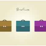 Colored Flat Briefcase Icons PSD